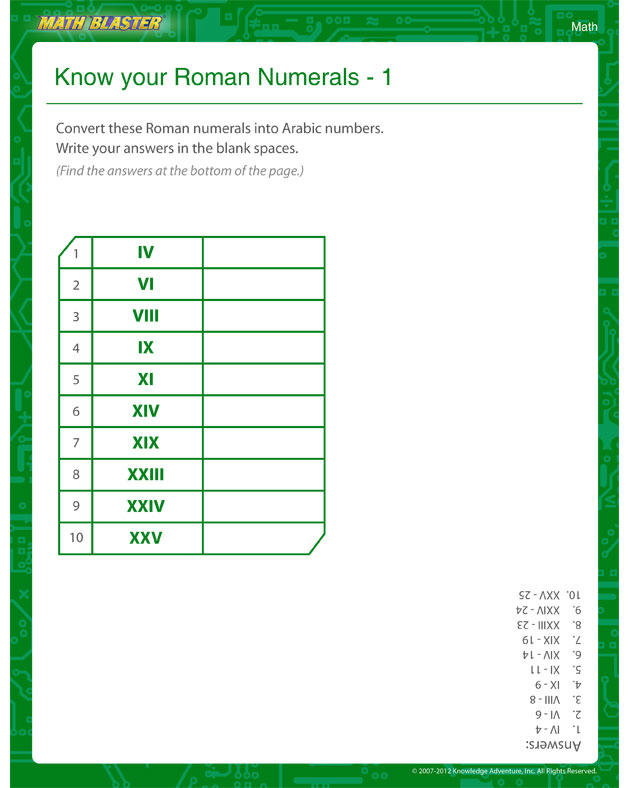 Know your Roman Numerals 1 - Math Worksheet for 4th Grade
