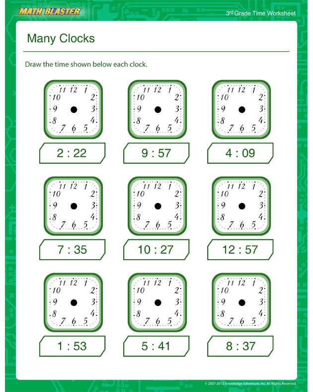 Many Clocks – Time Worksheet for Kids - Math Blaster