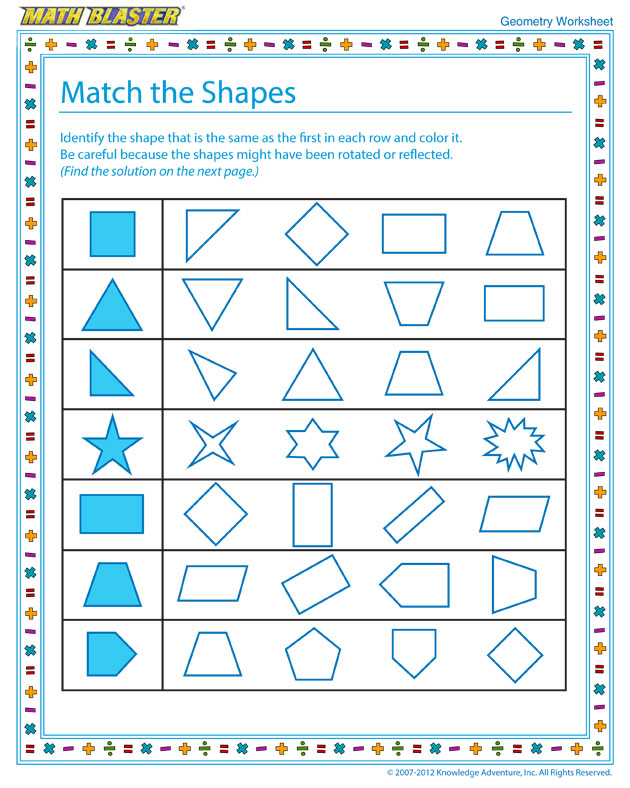 Match the Shapes - Cool Geometry Worksheet for Kids
