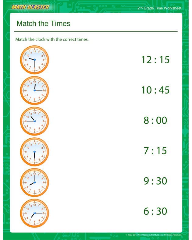 Match the Times – Time Worksheet for Kids - Math Blaster