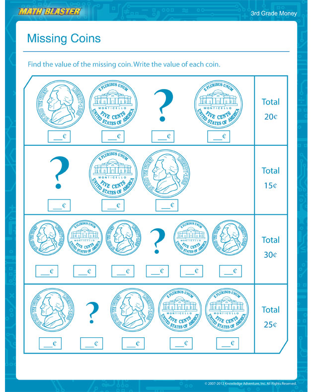 Missing Coins - Free Math Worksheet for 3rd Grade