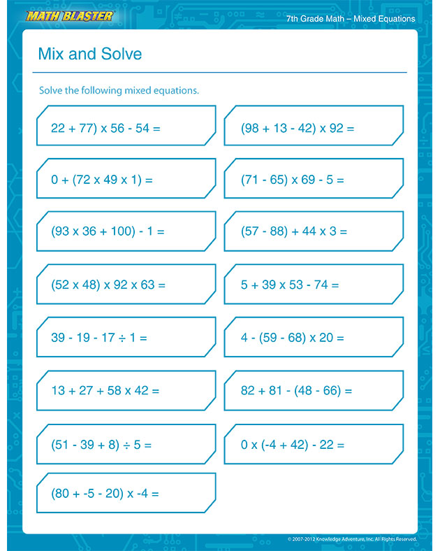... Solve – Free 7th Grade Math Printable PDF Worksheet – Math Blaster
