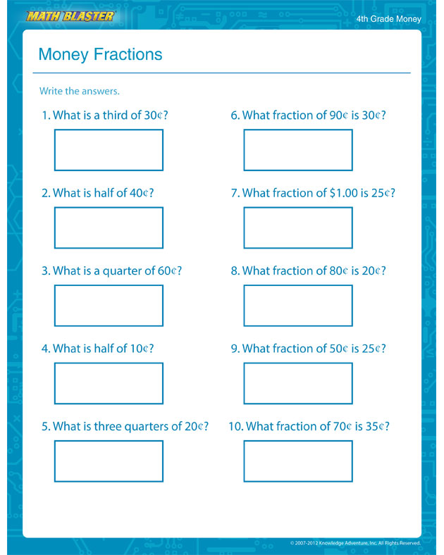 Money Fractions - Free Math Worksheet for 3rd Grade