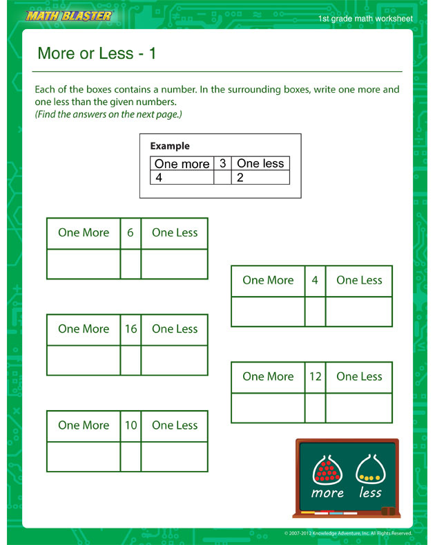 More or Less – 1 - Math Worksheet for 1st Graders