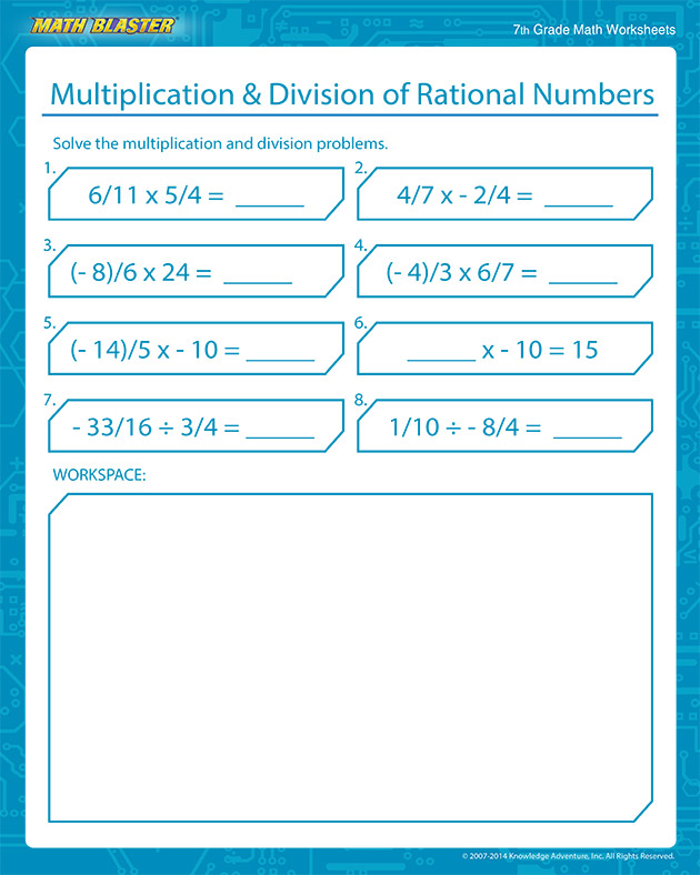 Multiplication and Division of Rational Numbers - Free Rational Numbers Worksheets for Middle School