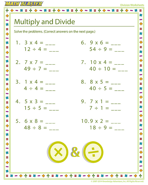 Multiply and Divide - Online division printables