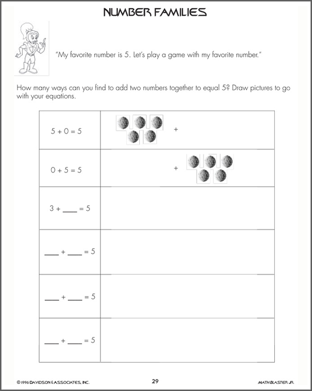 Number Families - Addition Worksheet for Kids