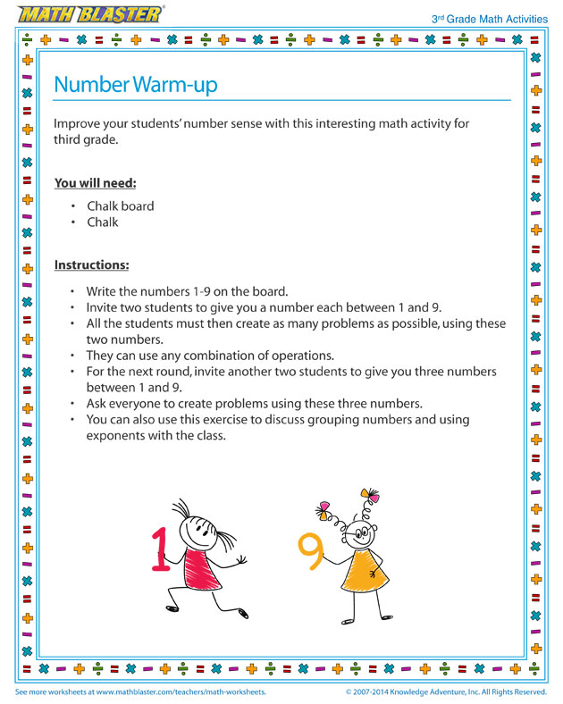 Number Warm-up - Number Sense Activity and Printable for Third Grade