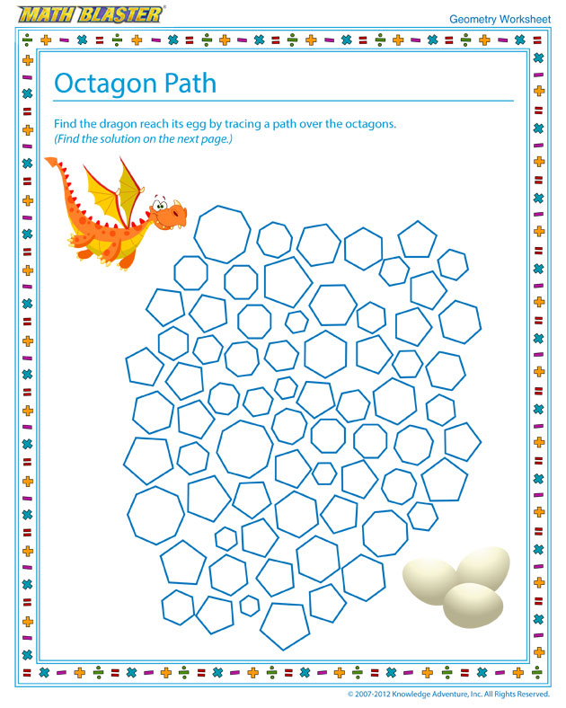 Octagon Path - Free Kids' Worksheet for Geometry