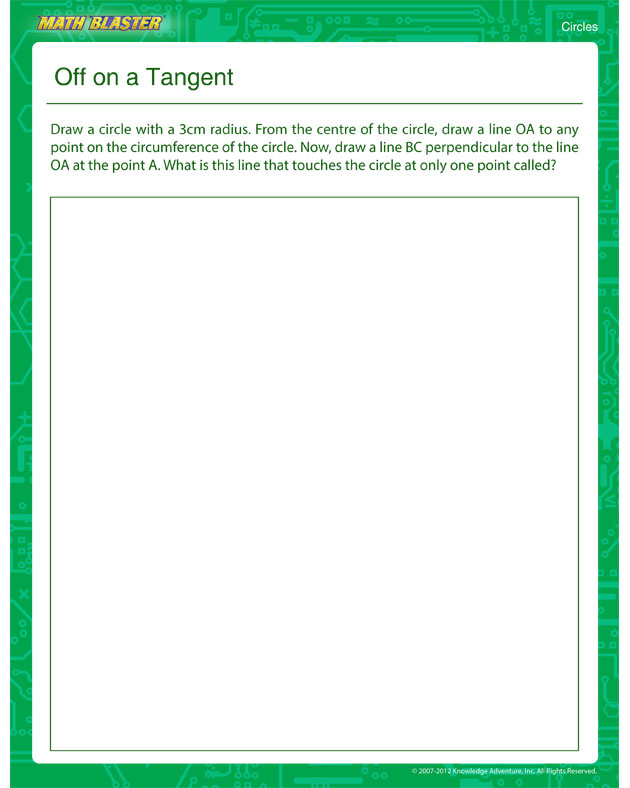 Off on a Tangent - Free 5th Grade Circles Worksheet for Kids