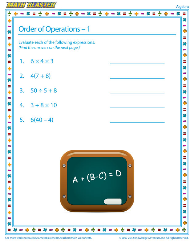 Order of Operations – 1 - Fun Algebra Worksheet for Elementary Grades