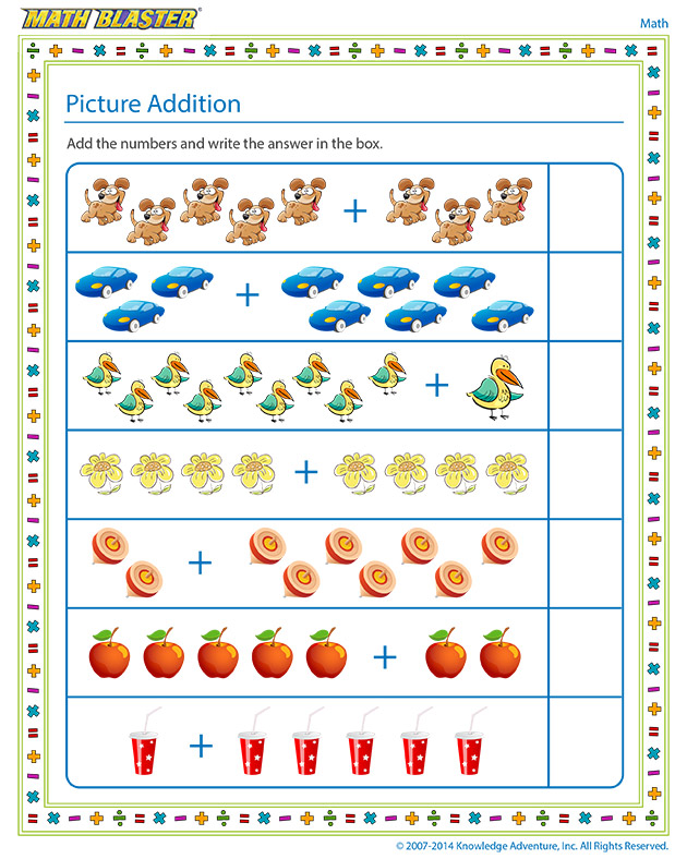 Picture Addition - Kindergarten addition worksheet