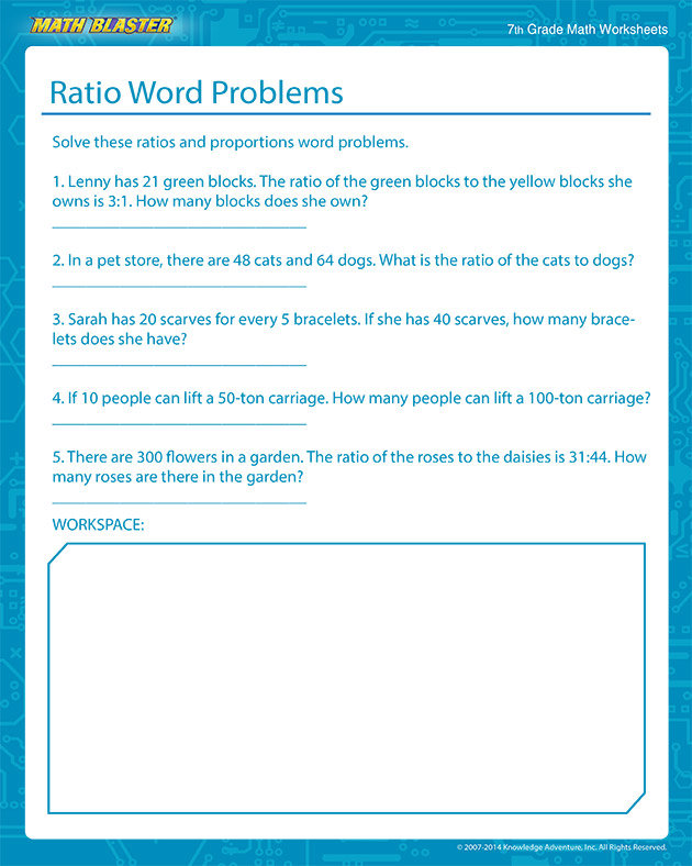 Ratio Word Problems - Free Ratio Worksheets for Middle School