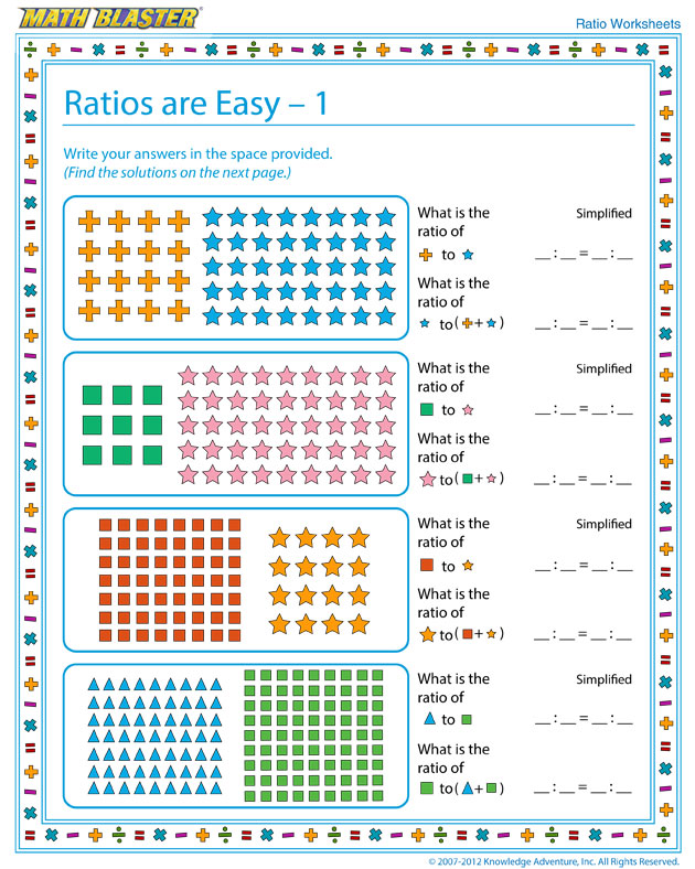 Ratios are Easy – 1 - Free Ratio Worksheet for Kids