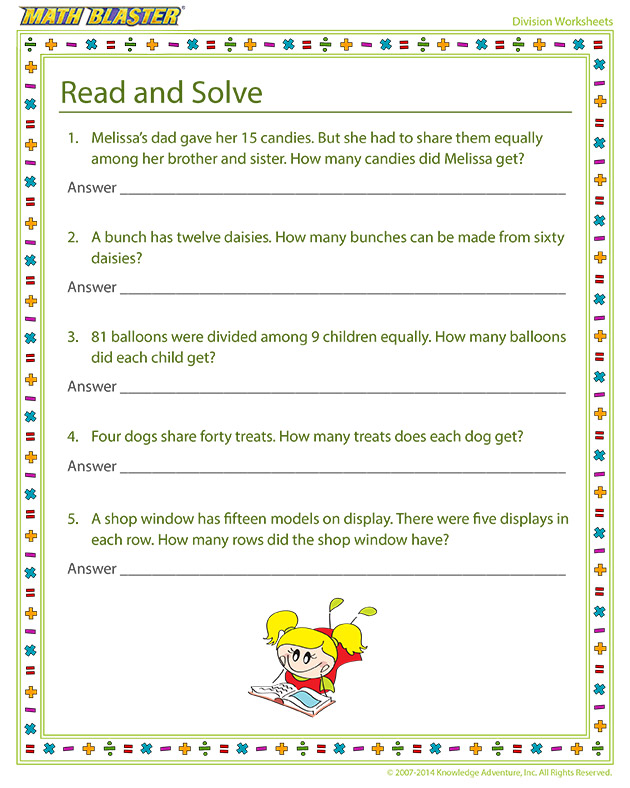 Read and Solve - Online division printables
