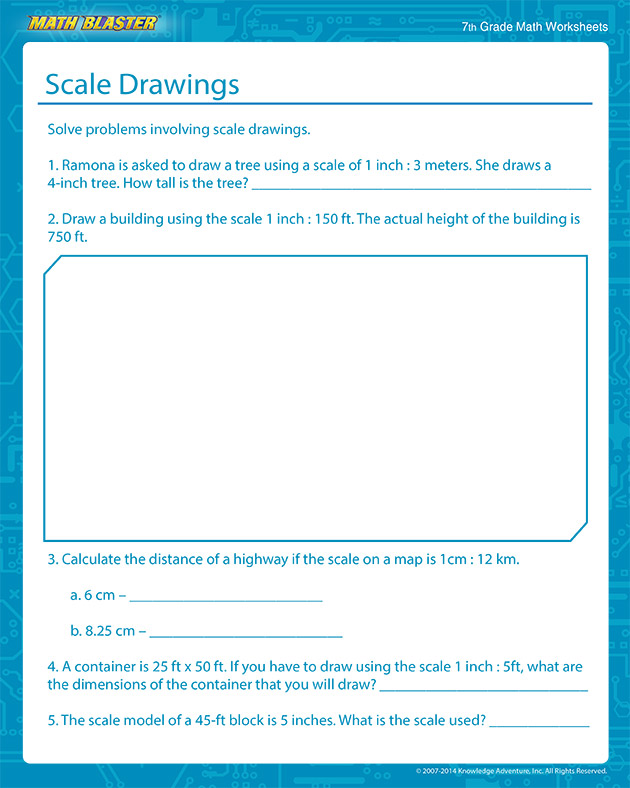 Scale Drawings - Free Scale Drawing Worksheets for Middle School