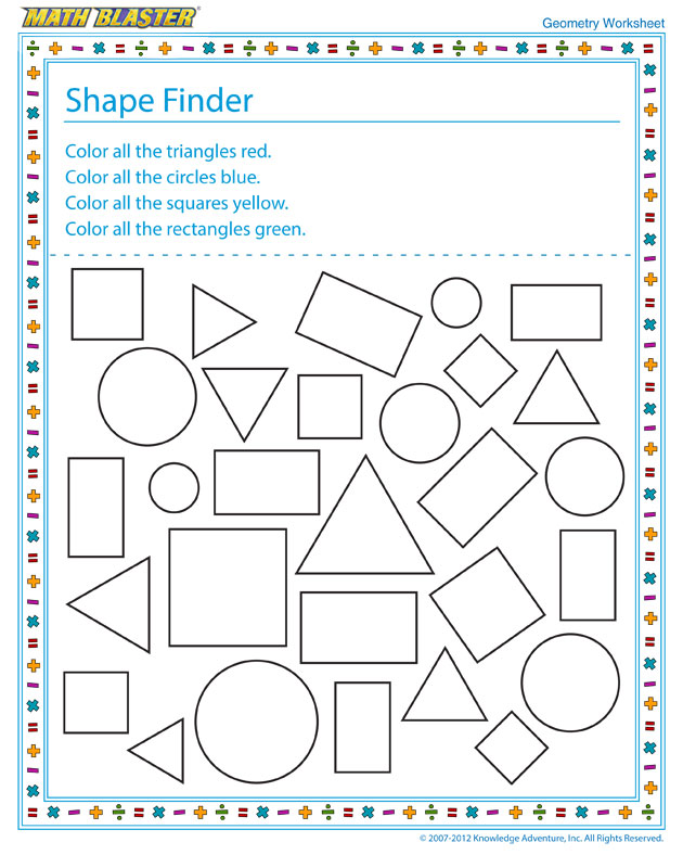 Shape Finder - Free Geometry Worksheet for Elementary