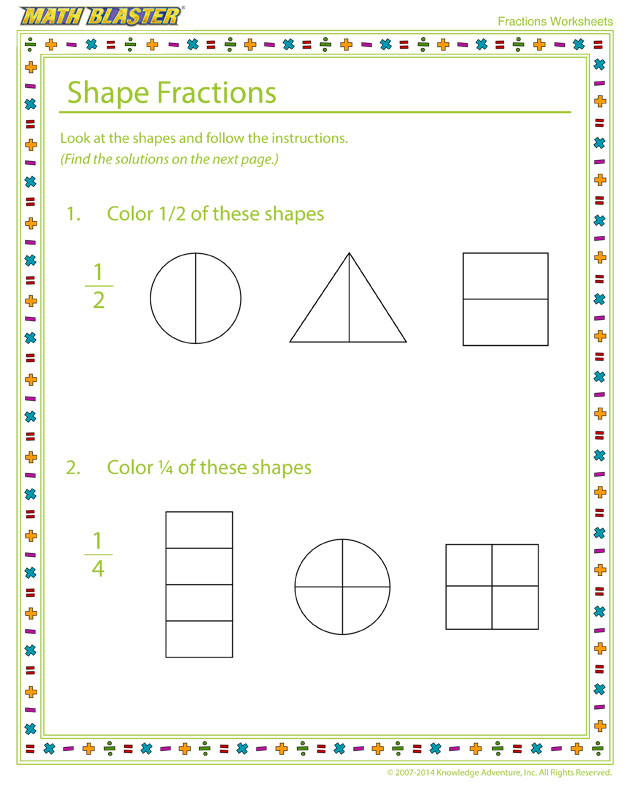 Shape Fractions - Fraction Worksheet for Elementary