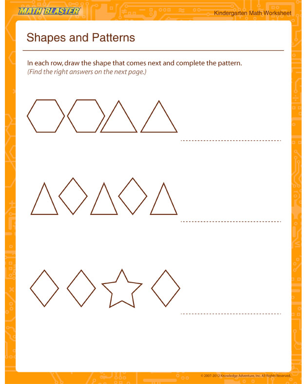 Shapes and Patterns - Math Worksheet for Kindergarten