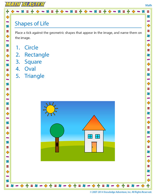 Shapes of Life - Kindergarten Geometry worksheet