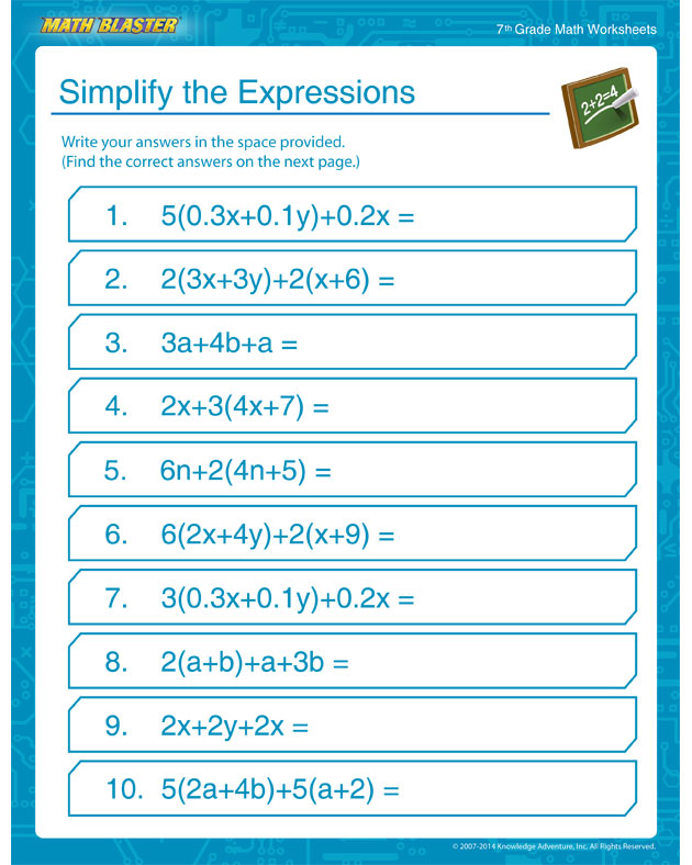 Simplify the Expressions - 7th Grade Math Worksheet for your Child