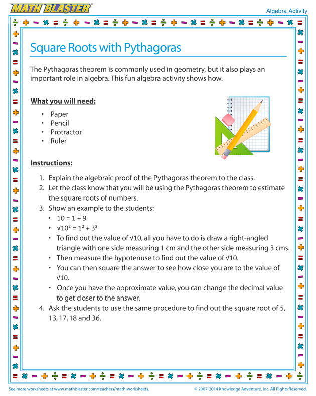Square Roots with Pythagoras - Algebra Activity for Kids