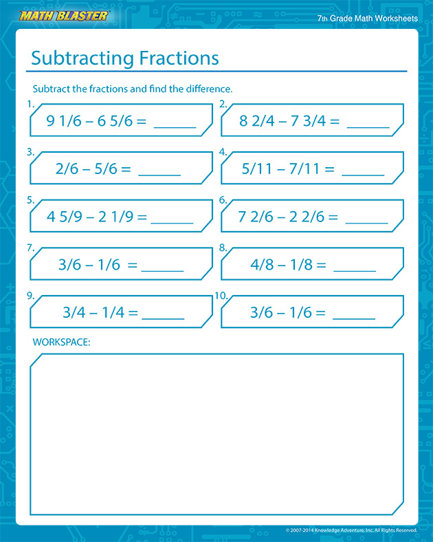 Subtracting Fractions - Free Fractions Worksheets for Middle School
