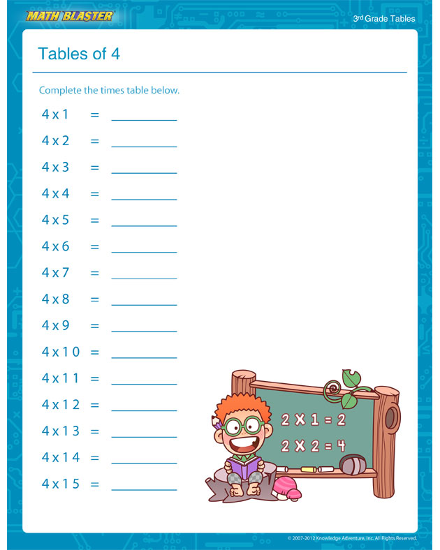 Tables of 4 - Free Math Worksheet for 3rd Grade