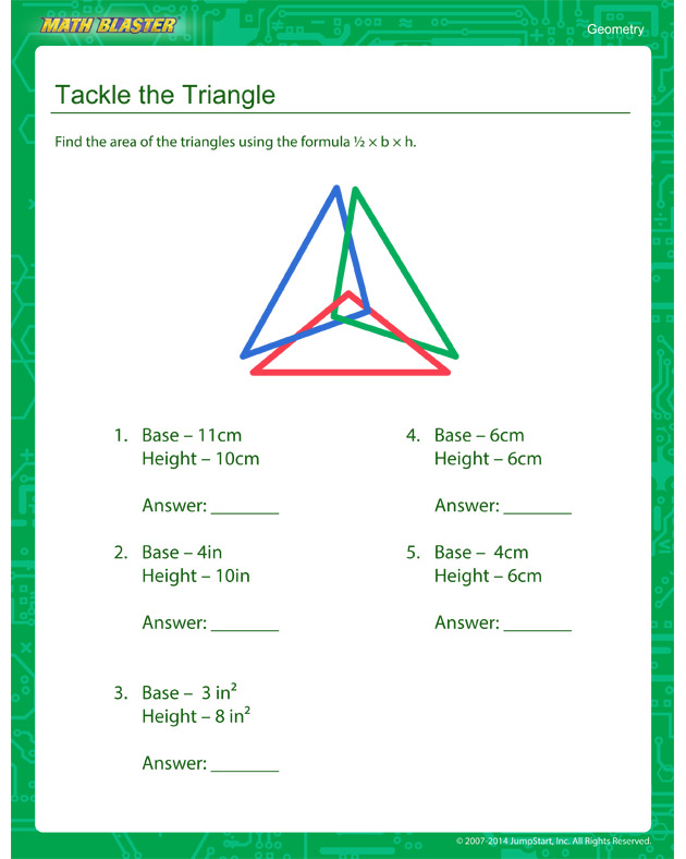 Tackle the Triangle - Fourth Grade Geometry worksheet