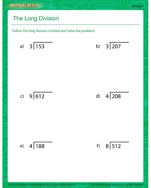 the long division printable division worksheet for kids math blaster. Black Bedroom Furniture Sets. Home Design Ideas