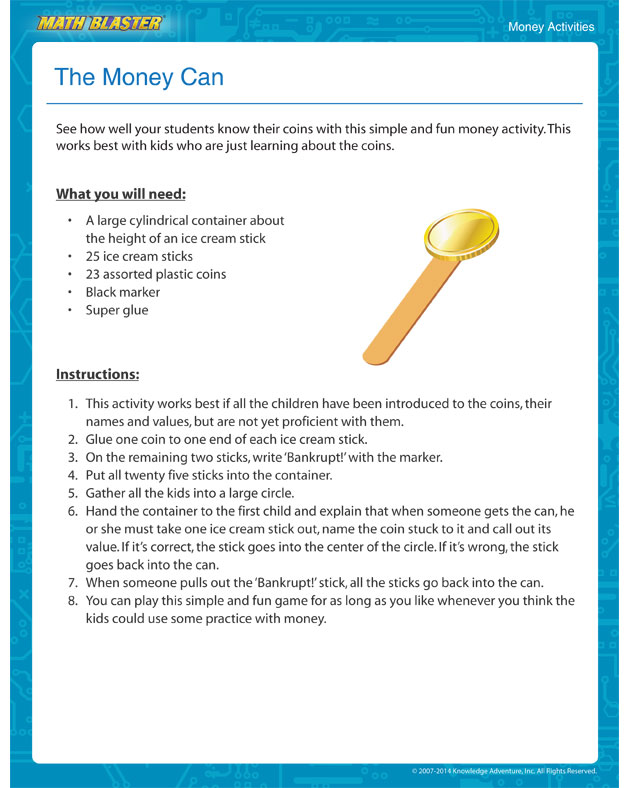 The Money Can -  Money Activity Online for Kids
