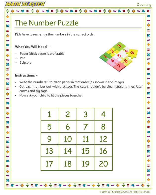 The Number Puzzle - Free Kindergarten Counting Activity