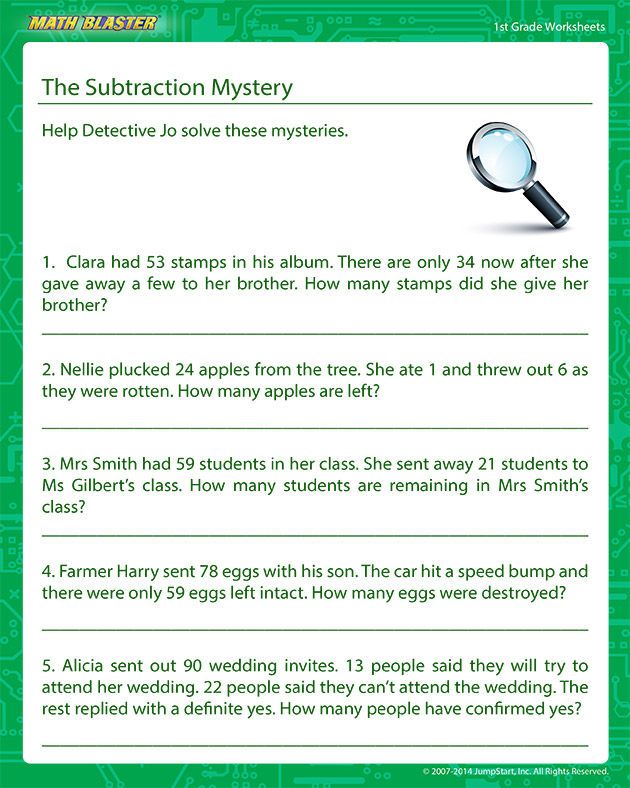 The Subtraction Mystery - addition Worksheet for Kids