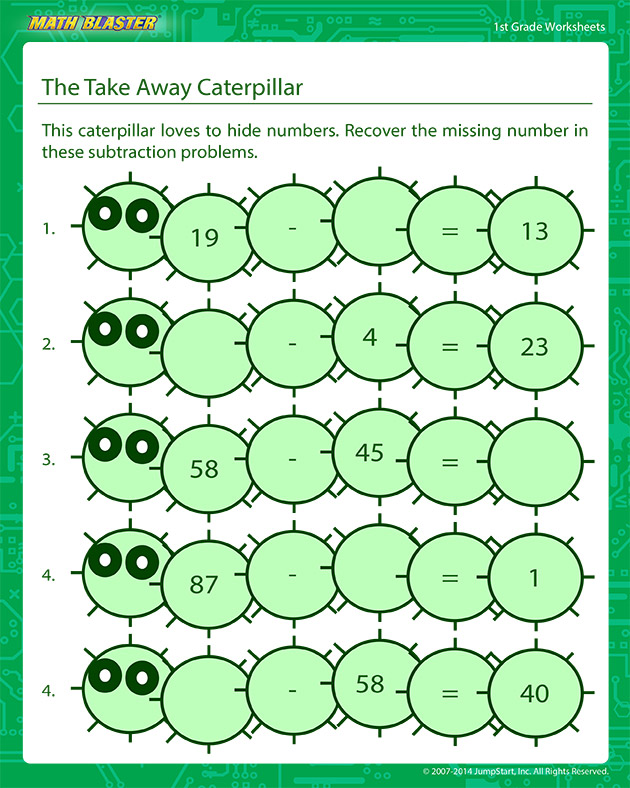 The Take Away Caterpillar - addition Worksheet for Kids