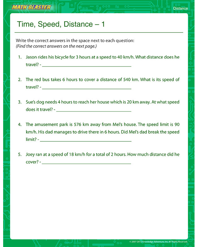 Time, Speed, Distance 1 - Free Math Worksheet for Kids