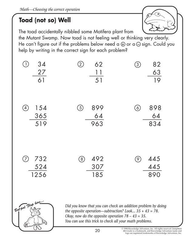 Toad (not so) Well - Math Worksheet for 4th Graders