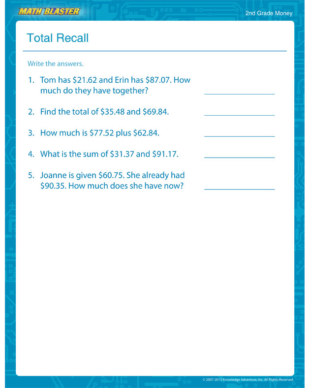 Total Recall - Free Math Worksheet for 2nd Grade