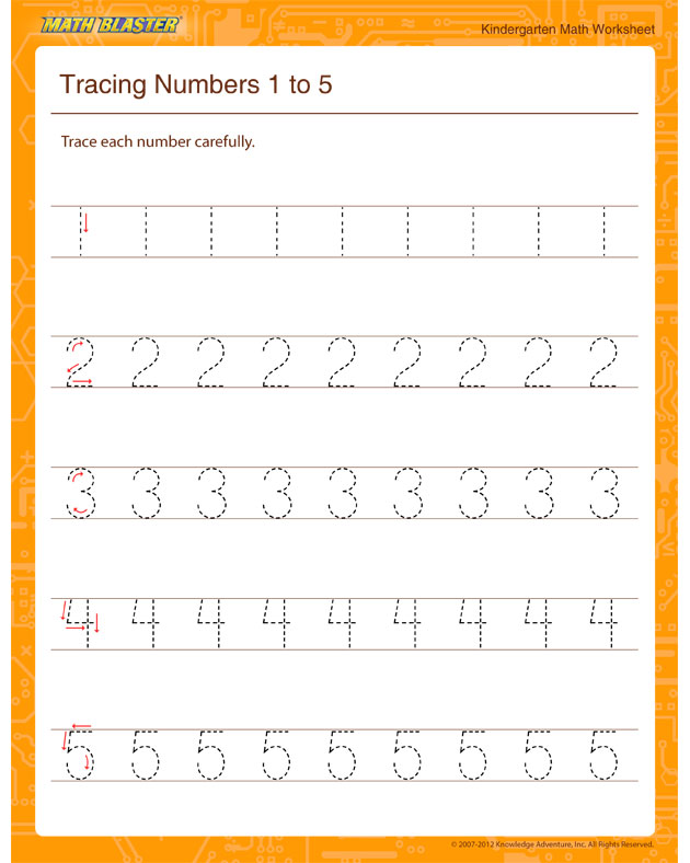 Tracing Numbers 1 to 5 - Math Worksheet for Kindergarten