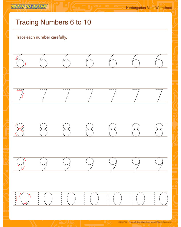 Tracing Numbers 6 to 10 - Math Worksheet for Kindergarten