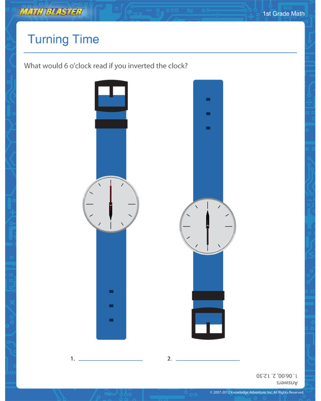 Turning Time - Time Worksheet for 1st Graders