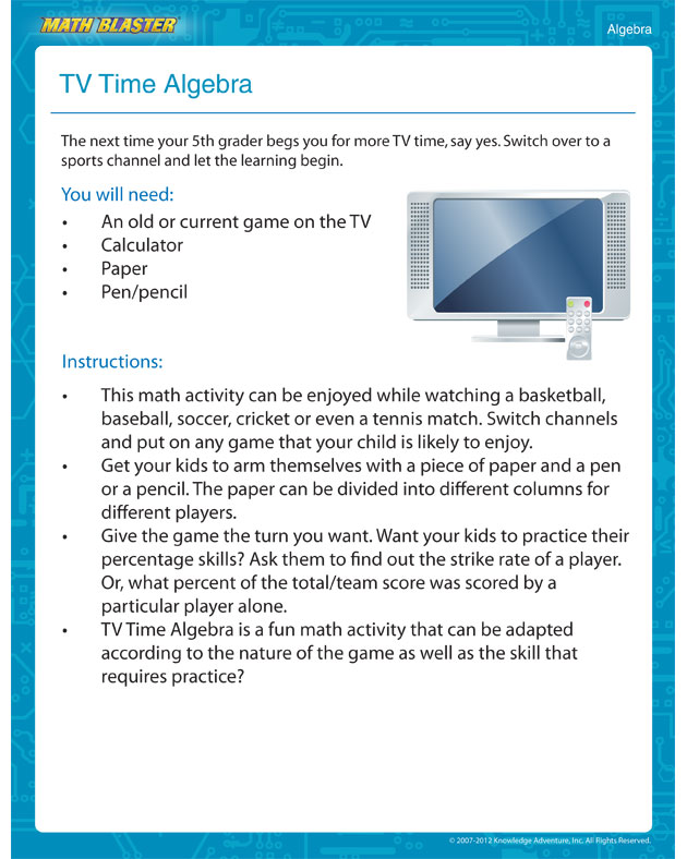 TV Time Algebra - Free Printable Math Activity for 5th Grade