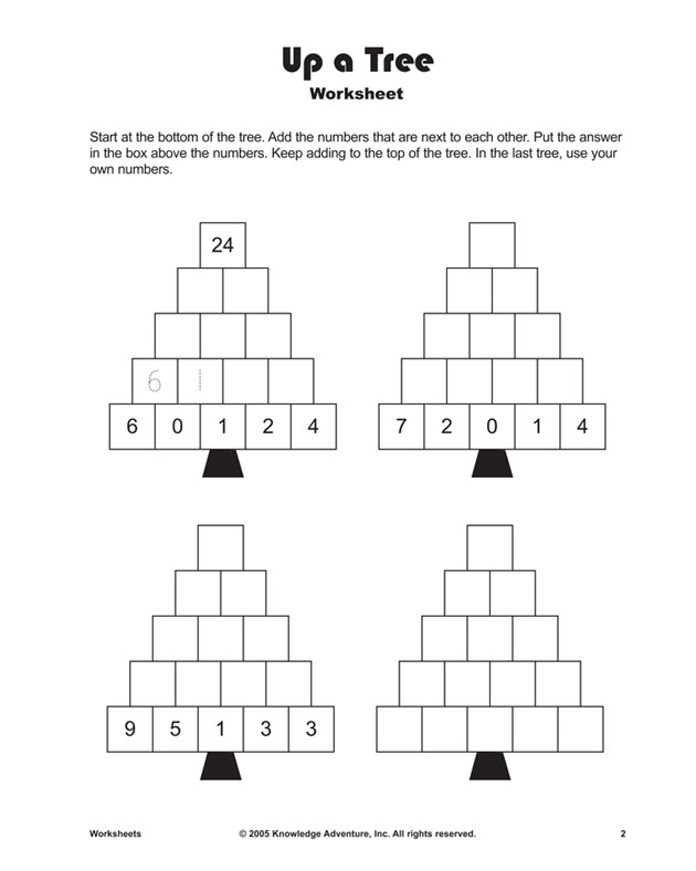 up a tree  printable addition worksheets and problems for kids  up a tree  addition worksheet for kids