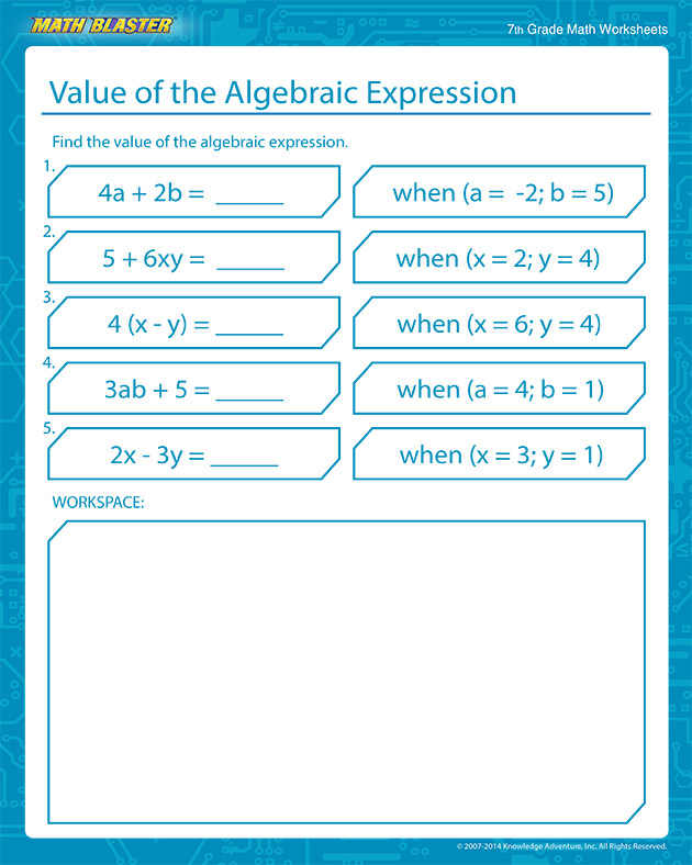 Value of Algebraic Expression - Free Algebra Worksheets for Middle School