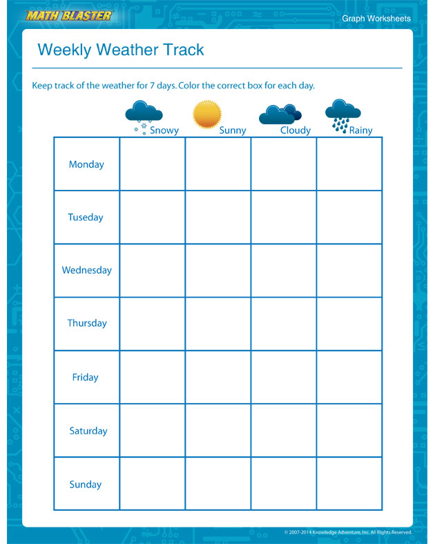 Weekly Weather Track - Use this to Teach Graph to Kids
