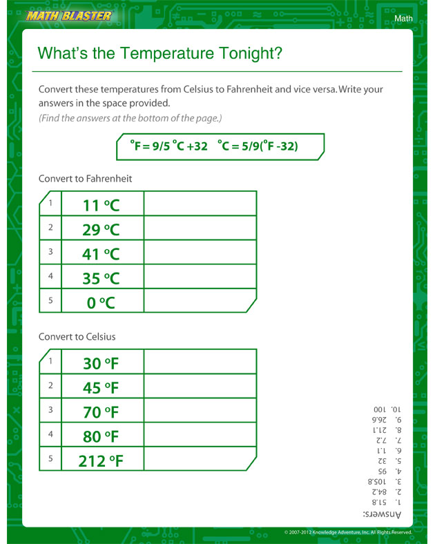What's the Temperature Tonight? - Temperature Worksheet for Kids