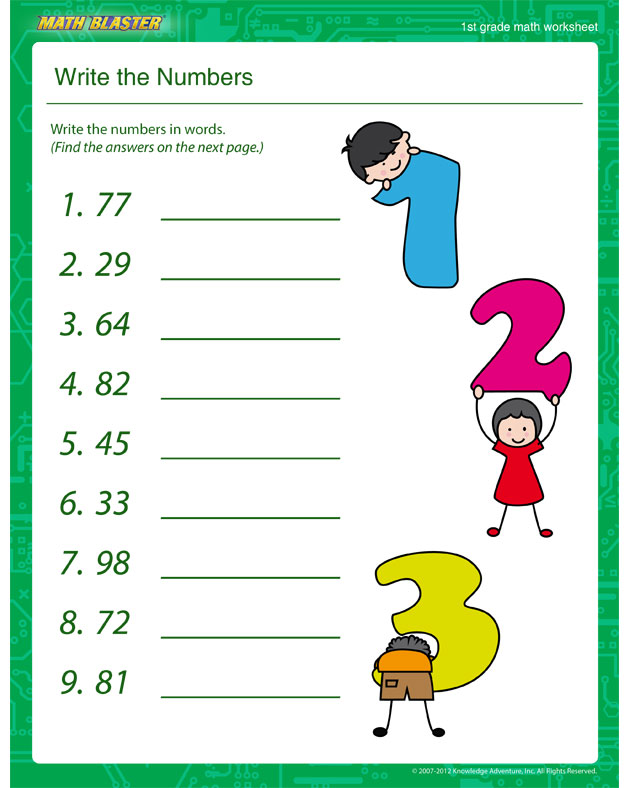 Write the Numbers - Math Worksheet for 1st Graders