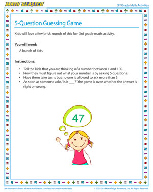 5-Question Guessing Game - Fun Math Activity for your Third Grader
