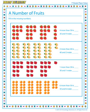 math worksheet : a number of fruits  free place value worksheet for kids  math  : Place Value Worksheets For Kindergarten