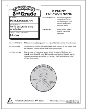 A Penny for Your Name - Free Addition Worksheet for Kids