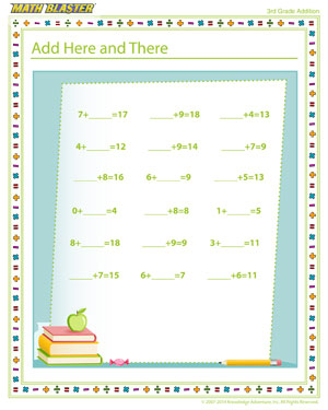 Add Here and There - Free Addition Worksheet for 3rd Grade
